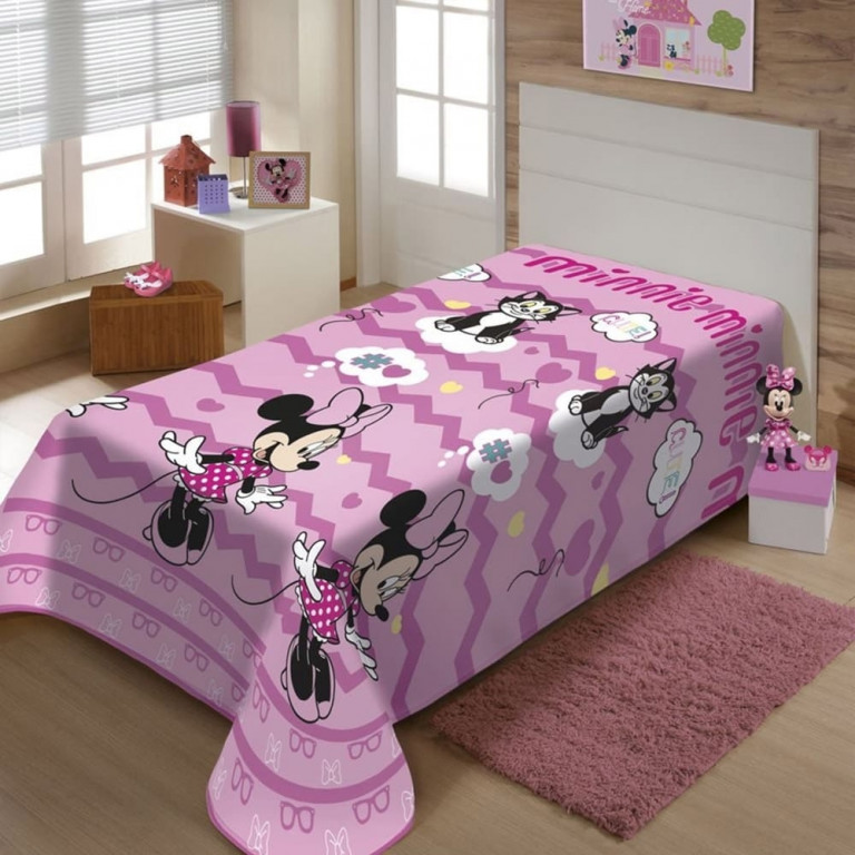 Manta Infantil Jolitex Solteiro Soft Minnie Mouse 1,50 x 2,00 m